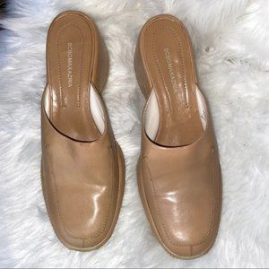 BCBG MaxAzria Slip On Clog Tan Leather Shoes 7